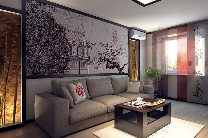 Современная японская гостиная с диваном