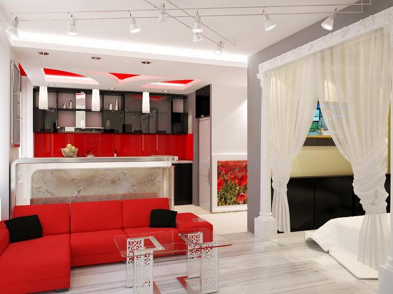 квартира студия в красном