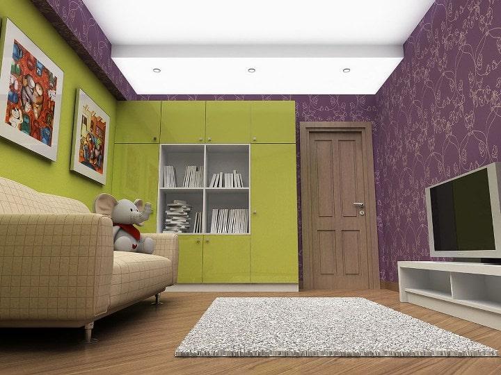Оливковая стенка, фиолетовые обои