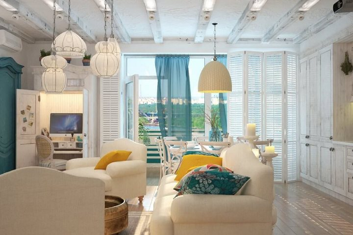 Современный средиземноморский стиль в гостиной