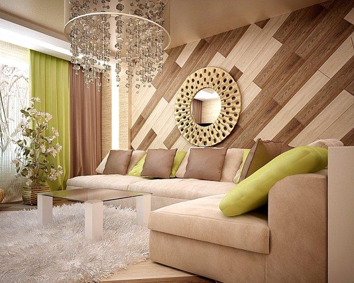 Коричнево-зеленый интерьер гостиной