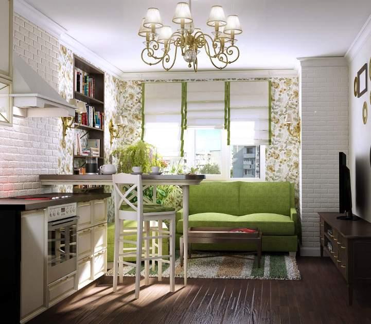 Светлая кухня с зеленым диваном