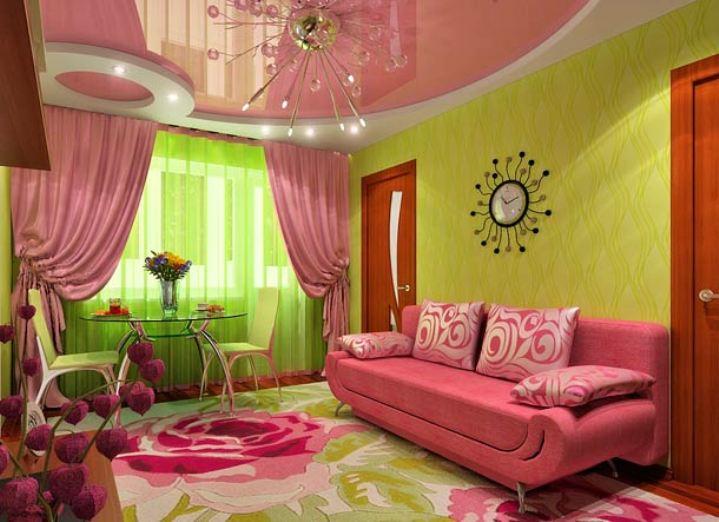 Зелено-розовая гостиная