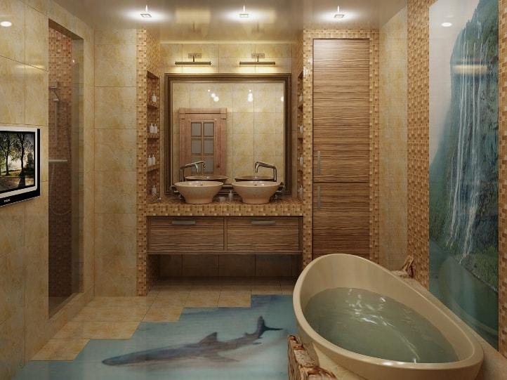 Ванная комната с 3D полом