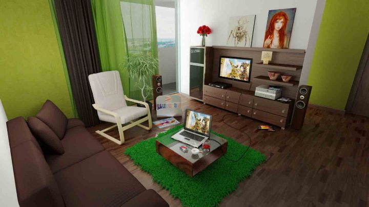 Зеленый ковер в интерьере: фото