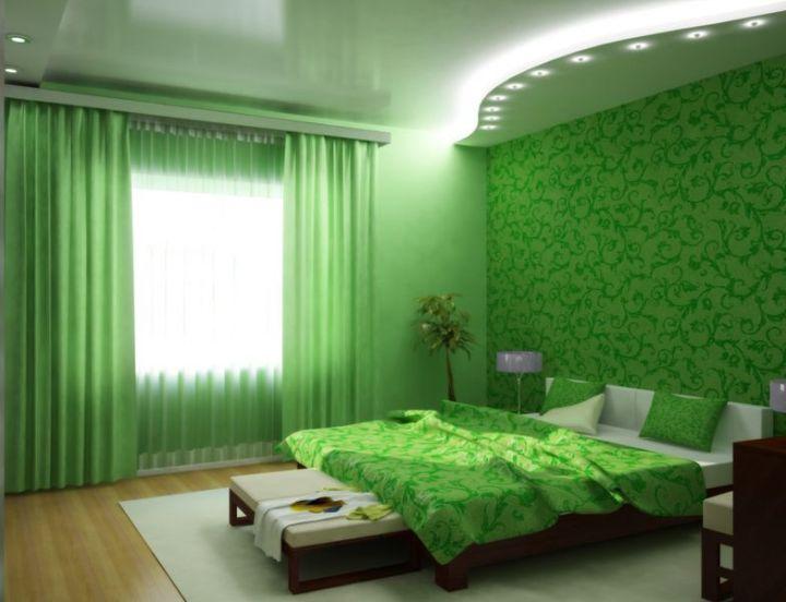 Красивая зеленая спальня
