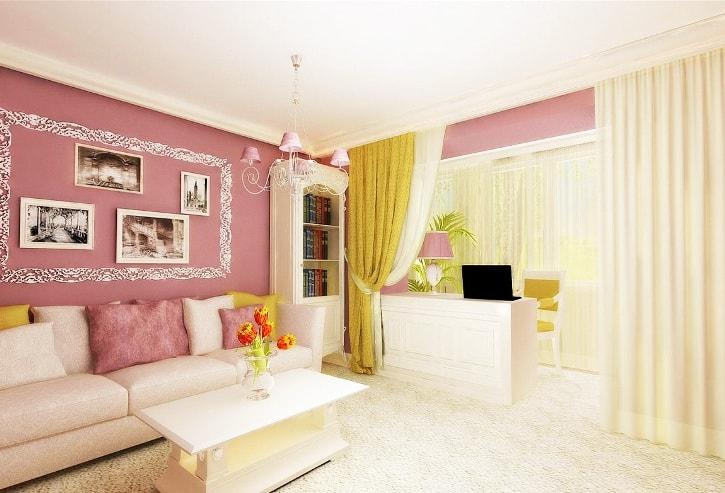 Объединение балкона с розовой гостиной