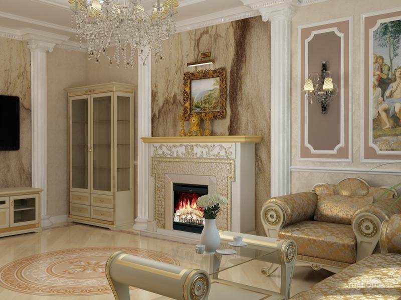 гостиная в стиле ампир с камином