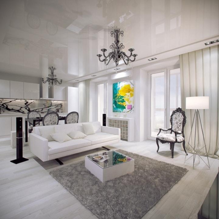 Светло-серая гостиная в стиле фьюжн