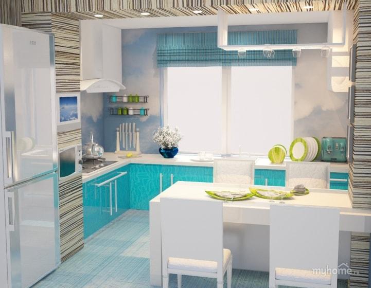 Кухня фьюжн в голубых тонах