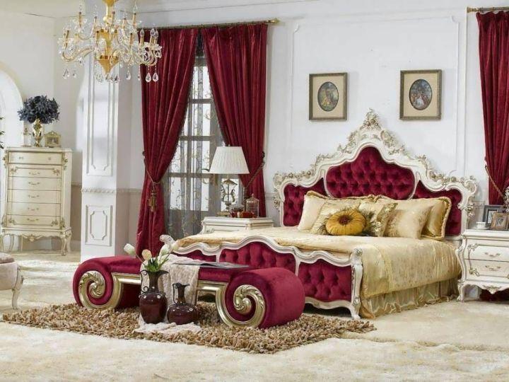 Бело-бордовая спальня