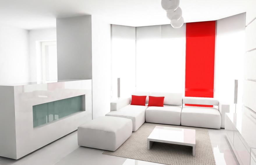 белая гостиная с красным акцентом