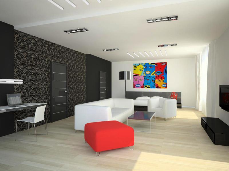 просторный интерьер в стиле поп-арт