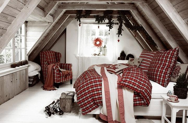 Спальня с клетчатым декором