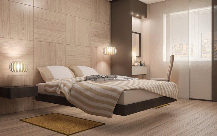 Ливетирующая кровать в интерьере минимализм