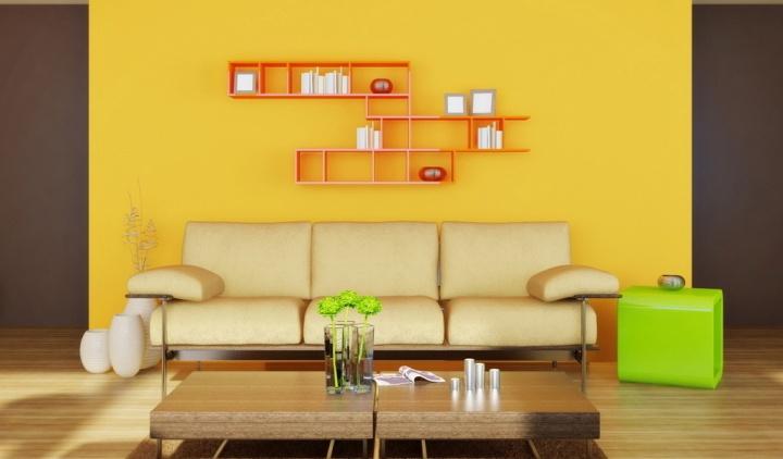 Яркая гостиная в стиле минимализм