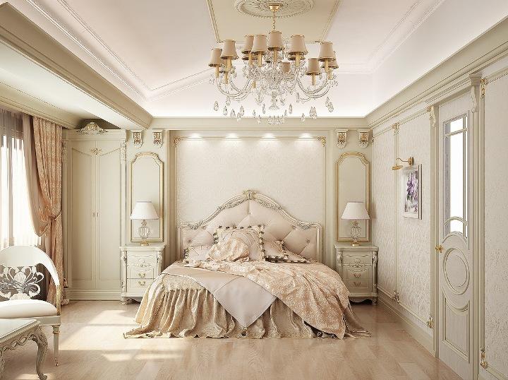 Французский стиль интерьера спальни в бежевых тонах