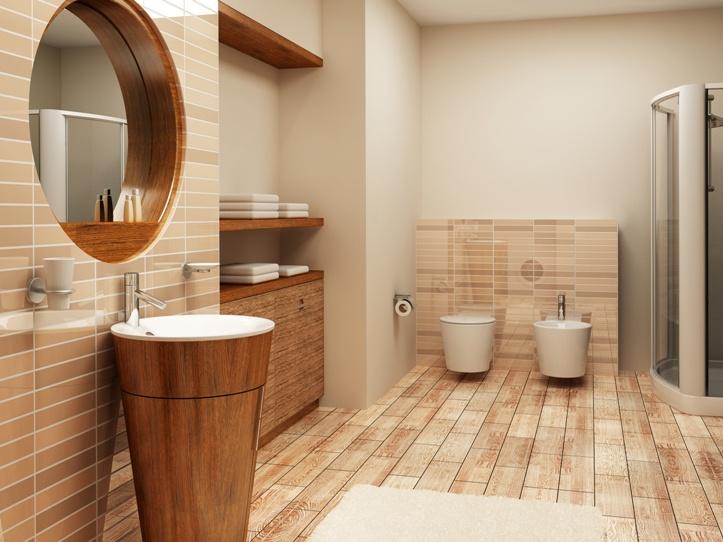 Деревянная плитка в ванной