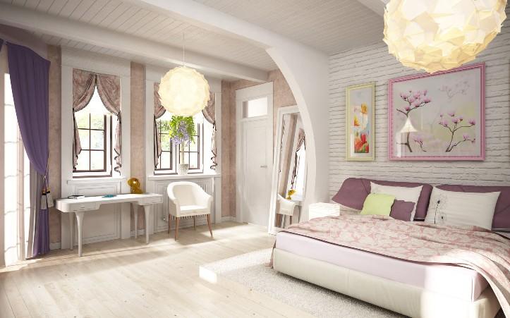 Освещение просторной спальни в стиле романтизм