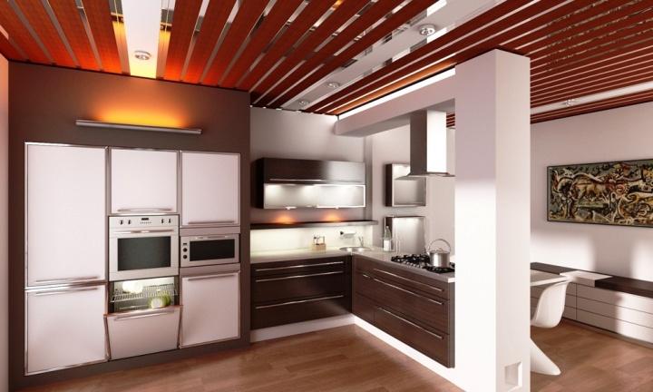 Фото реечного потолка на кухне