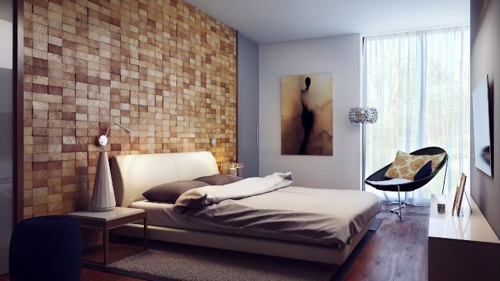 Спальня с деревянной стеной и полом