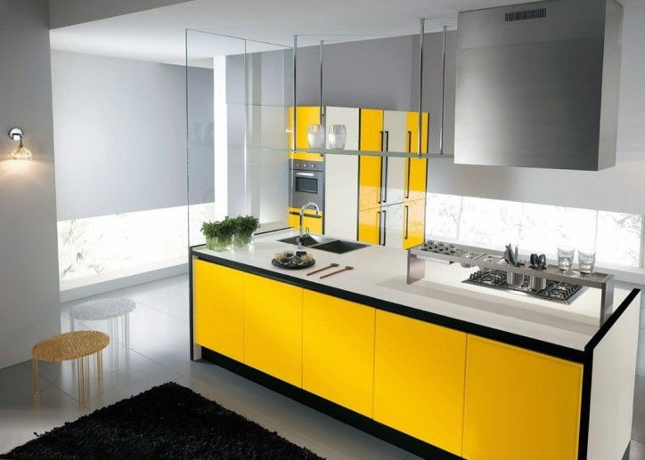 Желтая кухня, минимализм
