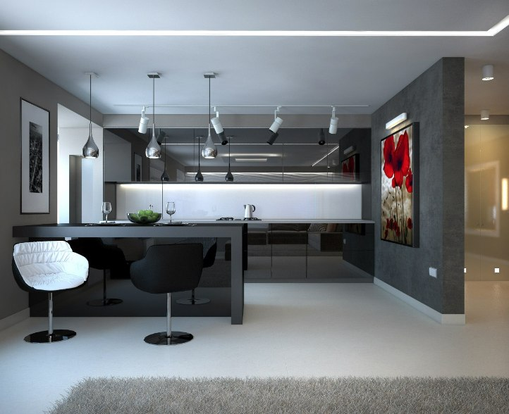 Темная кухня в стиле минимализм