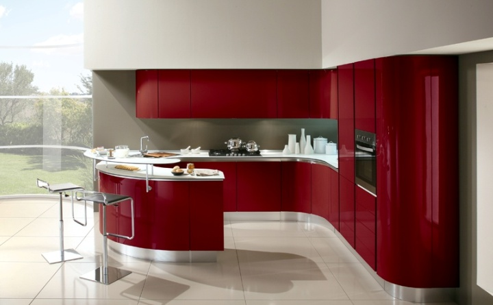 Яркая кухня в стиле минимализм