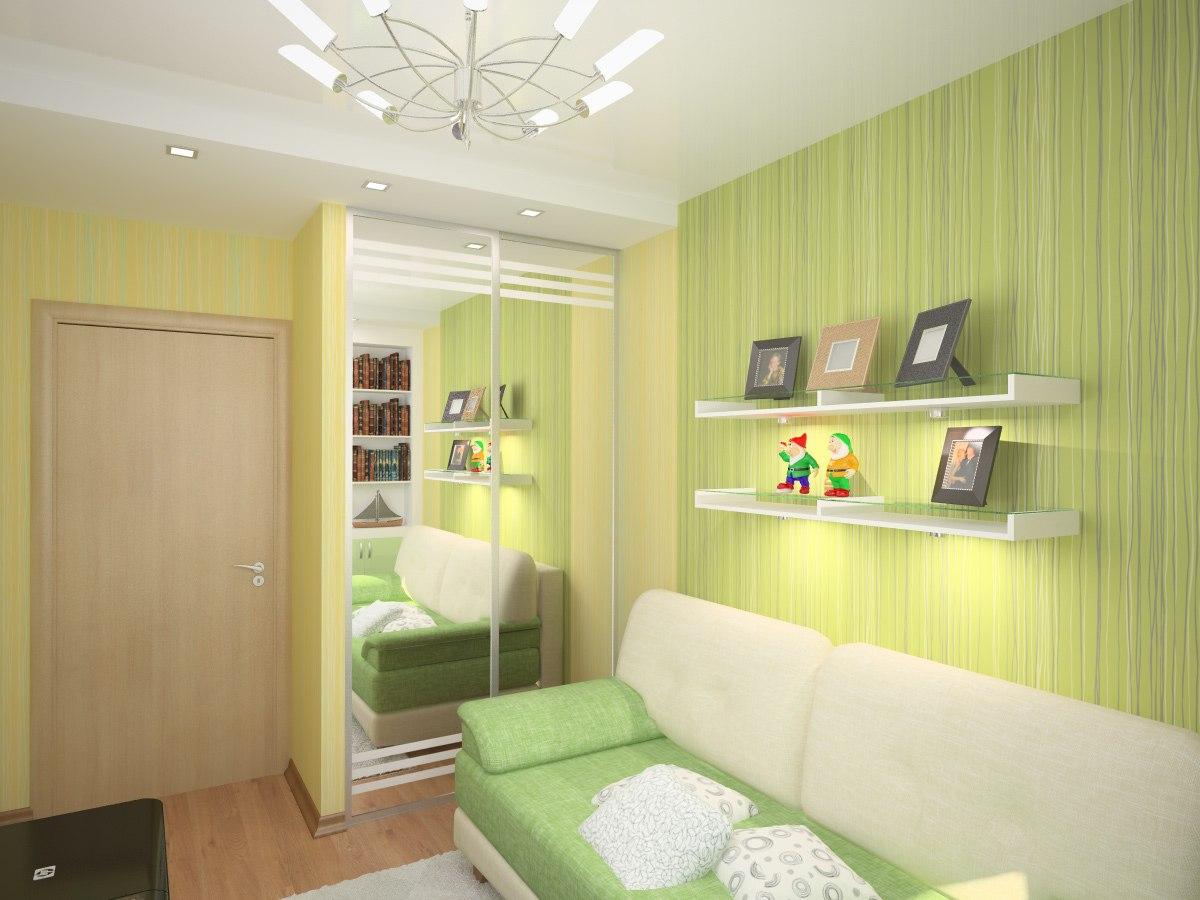 Интерьер спальни с рисунком на стене