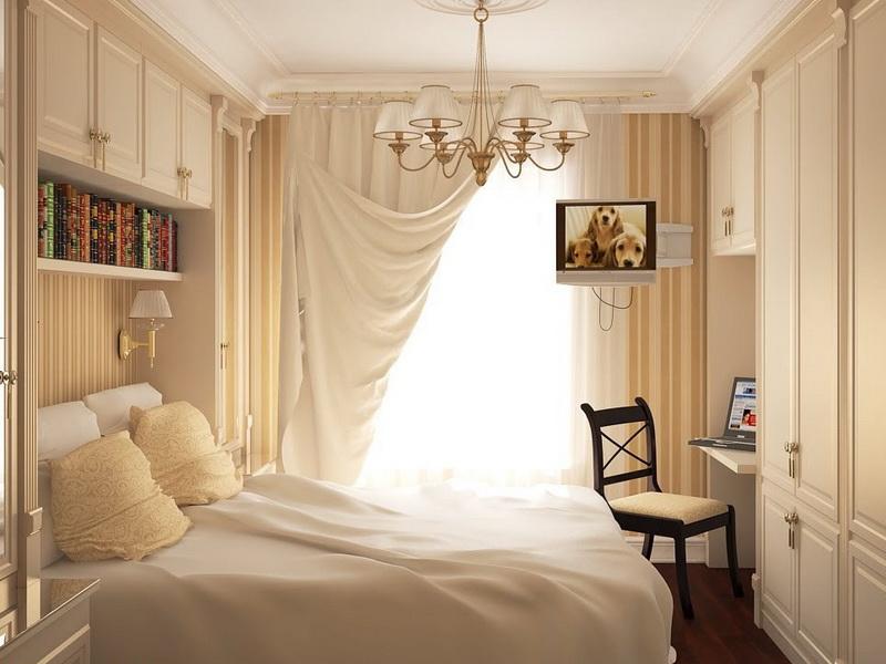 маленькая спальня в бежевых тонах