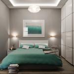 малогабаритная спальня цвета морской волны