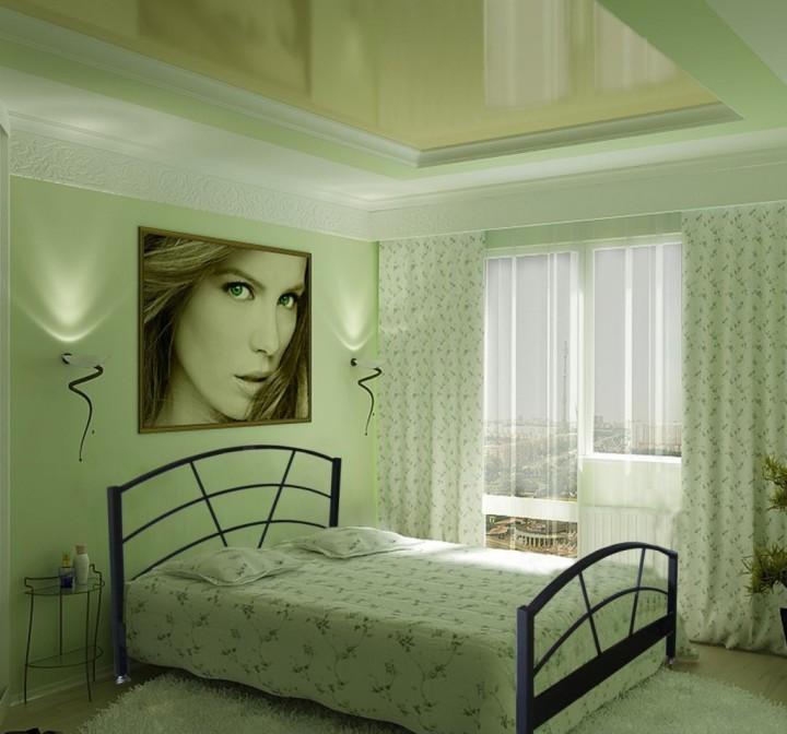 Светло-зеленый натяжной потолок