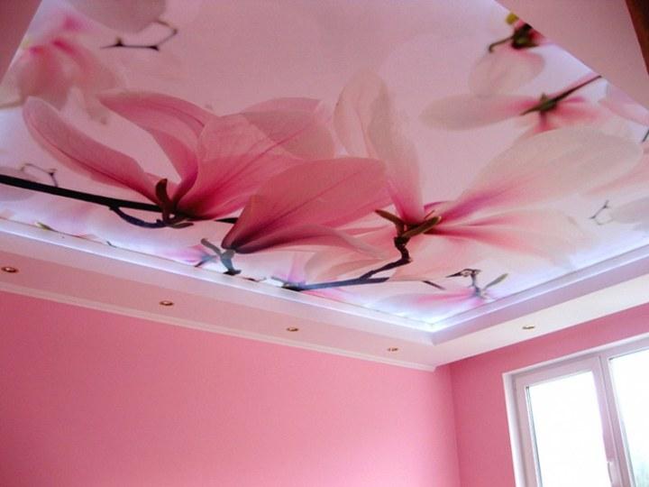 Натяжной потолок с лилиями