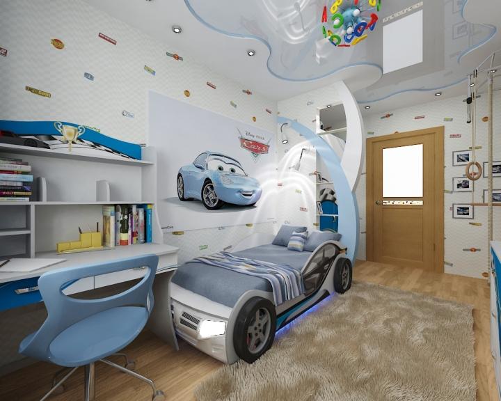 Кровать-машина в детской комнате