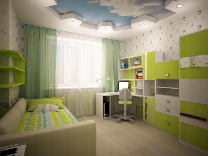 Интерьер детской комнаты в зеленых тонах