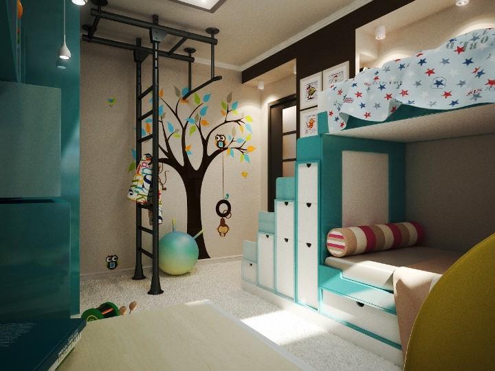 Детская комната для мальчиков с двухъярусной кроватью