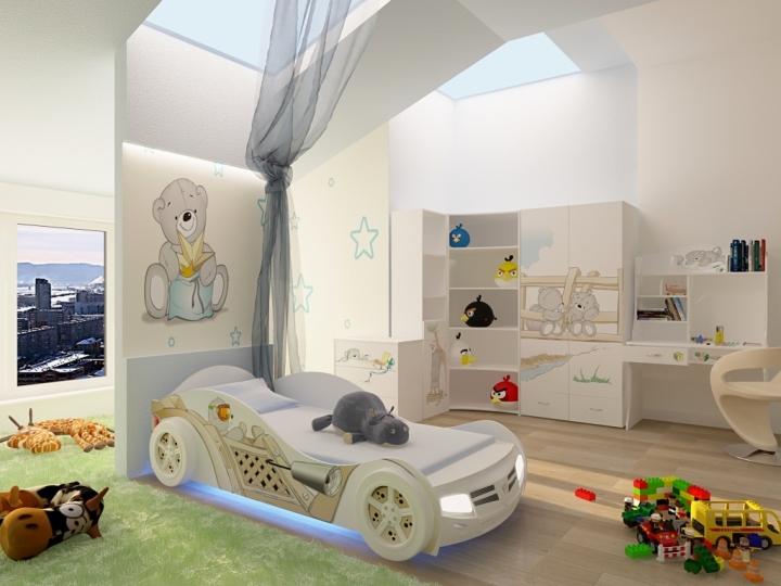 Светлая комната для мальчика с кроватью-машиной