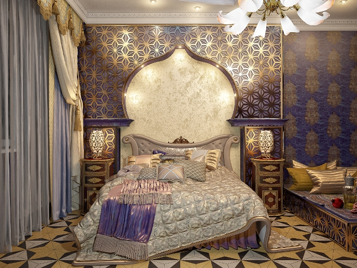 Изголовье кровати в восточном стиле