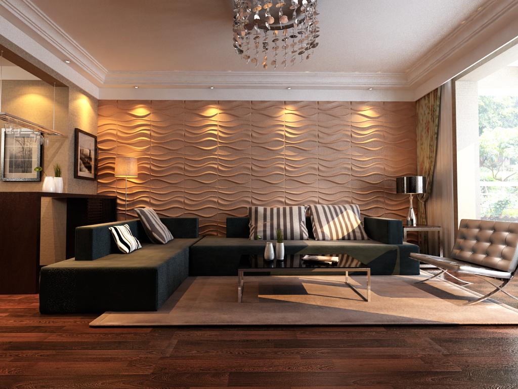 3D панели для стен в интерьере гостиной
