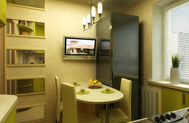 Размещение телевизора в кухне на стене