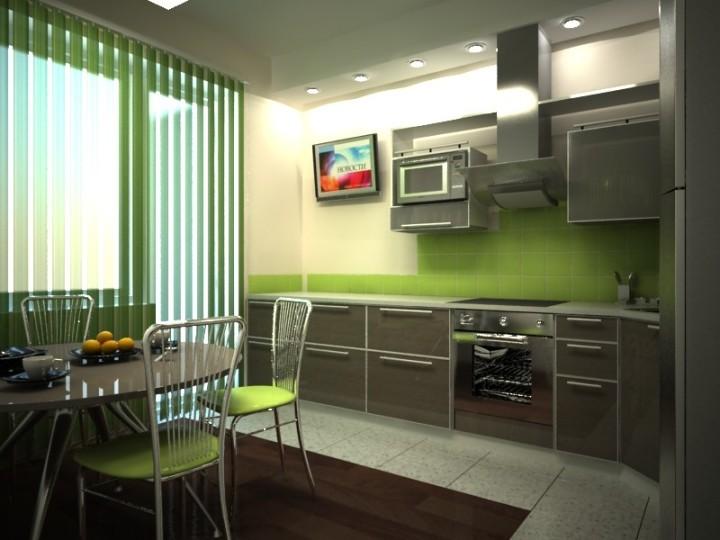 Зелено-серая кухня с телевизором
