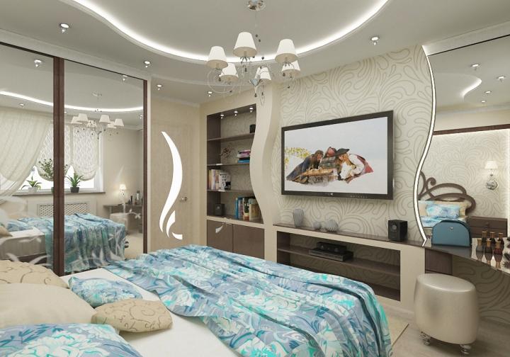 Красивый интерьер спальни с телевизором
