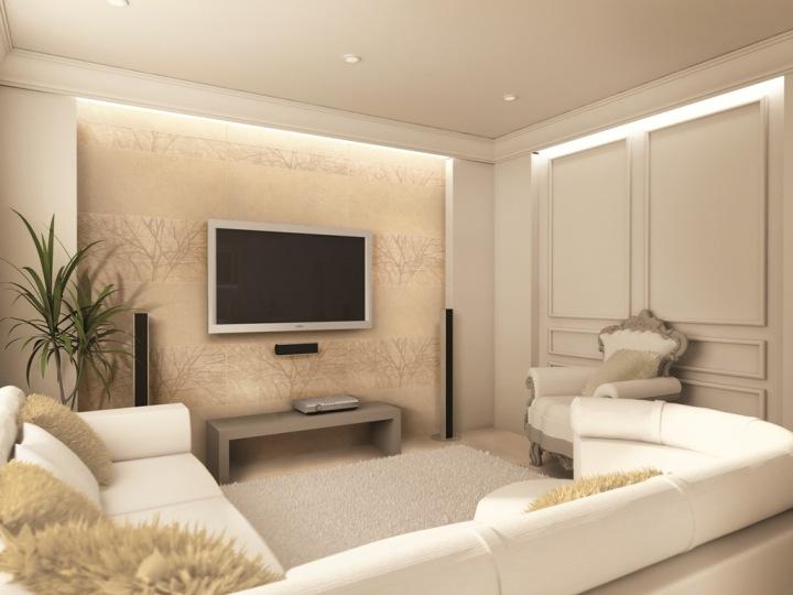 Телевизор в бежевой гостиной