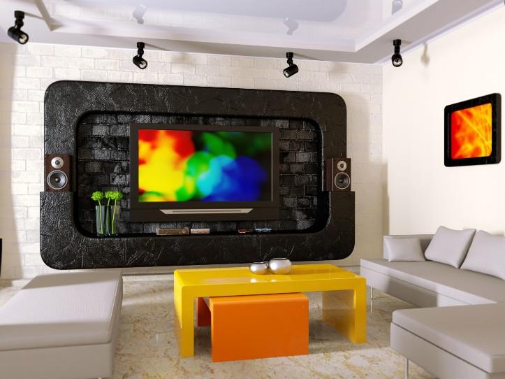 Гостиная в стиле хай-тек с телевизором