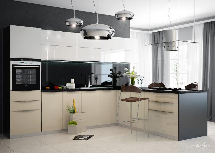 Интерьер белой кухни в стиле хай-тек