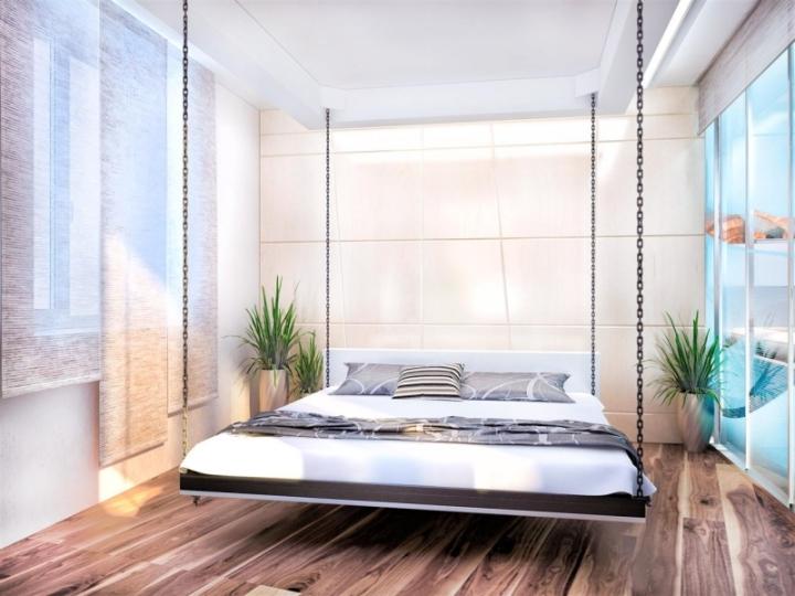 Подвесная кровать в интерьере спальни