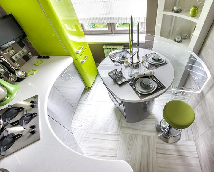 Малогабаритная кухня в стиле хай-тек
