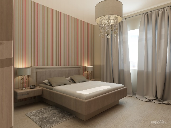 Спальня с яркими полосатыми обоями