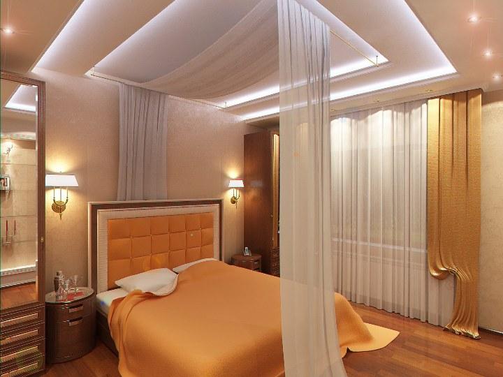 Потолок из гипсокартона в персиковой спальне