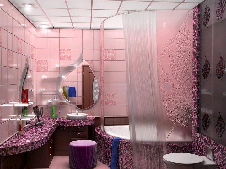 Интерьер розовой ванной